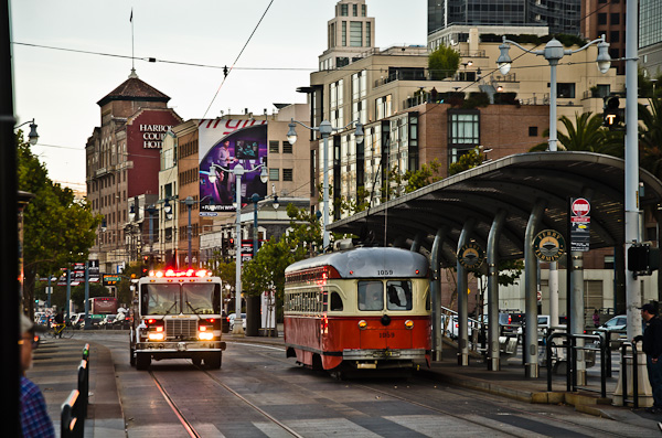 Fire truck and trolly stop, Embarcadero